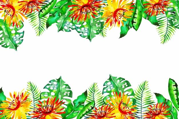 Behang met kleurrijke exotische bloemen