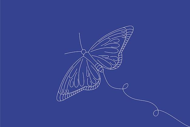 Behang met lineaire platte vlinderomtrek