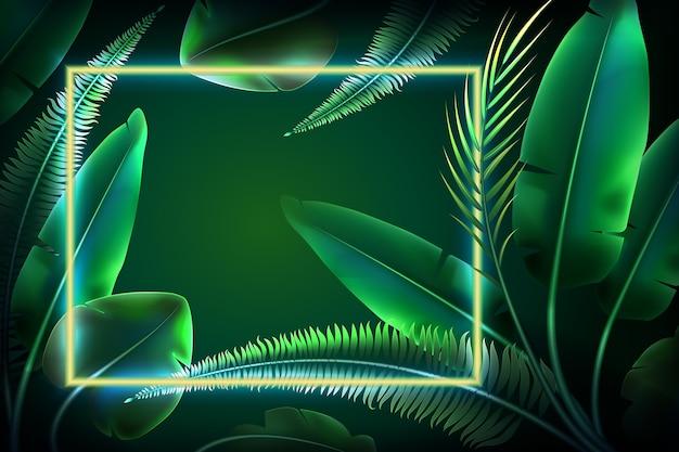 Behang met realistische bladeren met neon frame