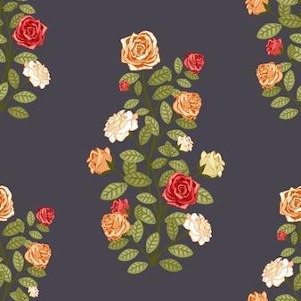 Behang met rozen traditionele retro naadloze vector patroon