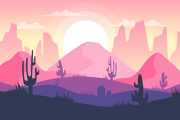 Behang met woestijnlandschap