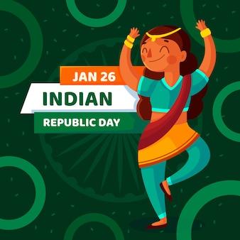 Behang van het de dag het vlakke ontwerp van de indische republiek