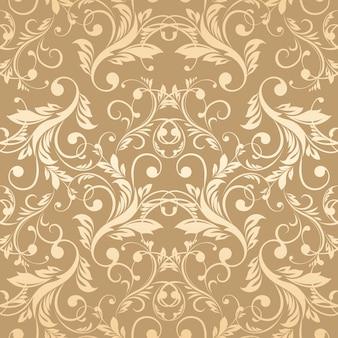 Behang van het luxe het gouden damast naadloze patroon