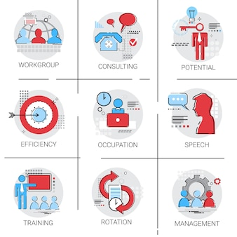 Beheer business team leiderschap icon set