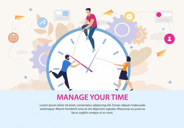 Beheer uw tijd motivatie poster sjabloon