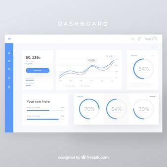 Beheerdersdashboard met plat ontwerp