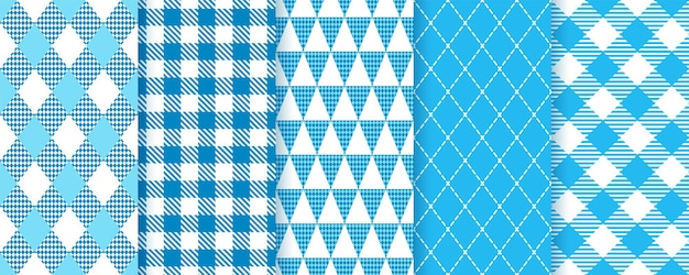 Beierse oktoberfest naadloze patronen. blauwe diamant achtergronden. set geruite prints met ruit, driehoek