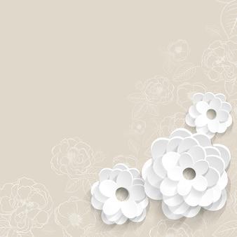 Beige achtergrond met bloemen gesneden uit wit papier
