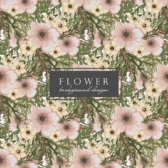Beige bloem naadloos patroon als achtergrond
