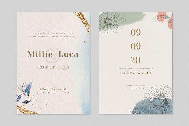 Beige bruiloft uitnodigingskaart sjabloon set