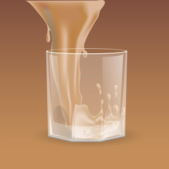 Beige drank gieten in transparant glas voor whisky scotch bourbon