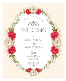 Beige en rode florar krans trouwkaart