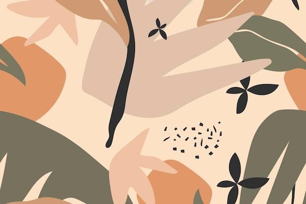 Beige esthetische achtergrond, tropische jungle naadloze patroon vector