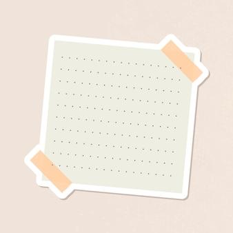 Beige gestippelde briefpapier dagboek sticker vector