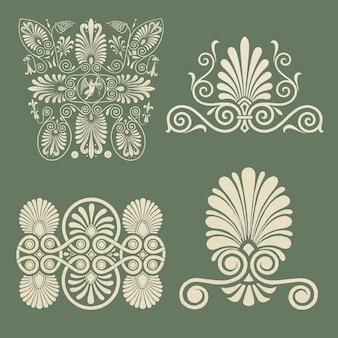 Beige griekse decoratieve elementenset
