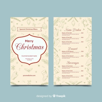 Beige hand getekend kerst menusjabloon