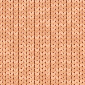 Beige realistische eenvoudig gebreide naadloze structuurpatroon. naadloos gebreid patroon. wollen kleding.