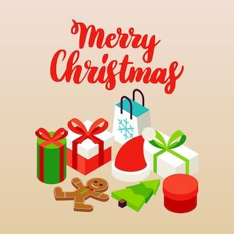 Beige vrolijk kerstmisconcept. vectorillustratie van wintervakantie isometrie.