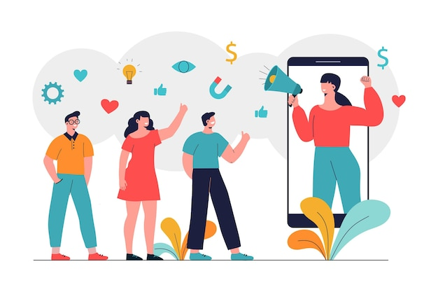Beïnvloeder op sociale media illustratie