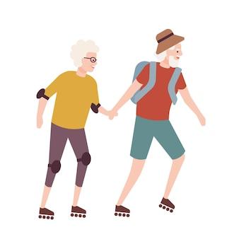 Bejaard echtpaar op rolschaatsen