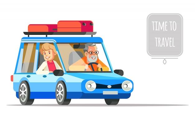 Bejaard paar dat samen in een auto reist. oudere mensen levensstijl vlakke afbeelding en leven avontuur en plezier genieten. opa en oma paar reizen met de auto.