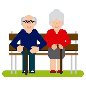Bejaard paar in het park
