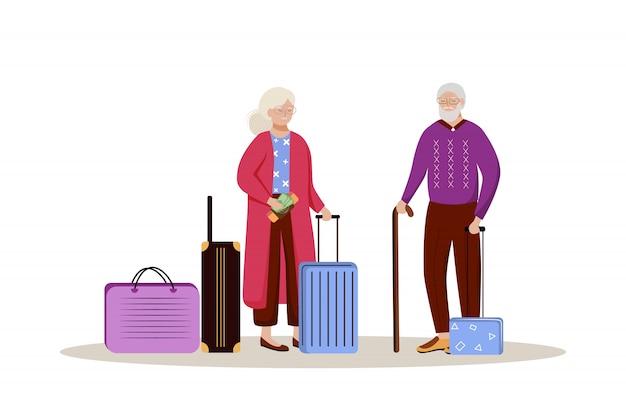 Bejaard paar met bagageillustratie. klaar voor een reis. echtpaar met koffers. op vakantie gaan. het beeldverhaalkarakter van de reisvoorbereiding op witte achtergrond