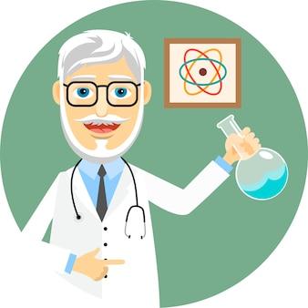Bejaarde arts of apotheker die een laboratoriumjas en een stethoscoop draagt