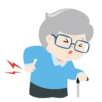 Bejaarde die aan rugpijnvector lijdt. kniekadepictogram.