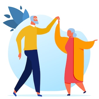Bejaarde echtpaar dansen illustratie