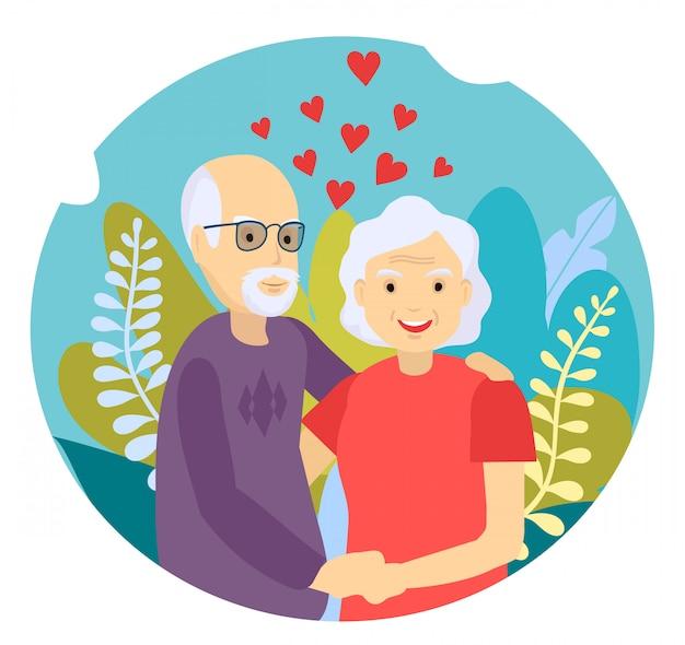 Bejaarde echtpaar glimlachen. oude vrouw en oude man paar omarmen liefdevol.