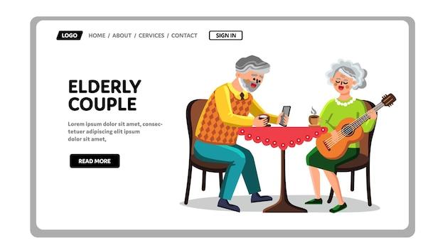 Bejaarde echtpaar grootvader en oma vector. bejaarde echtpaar hebben vrije tijd samen, oude man communiceren op telefoon en oudere vrouw spelen op gitaar. tekens web platte cartoon afbeelding