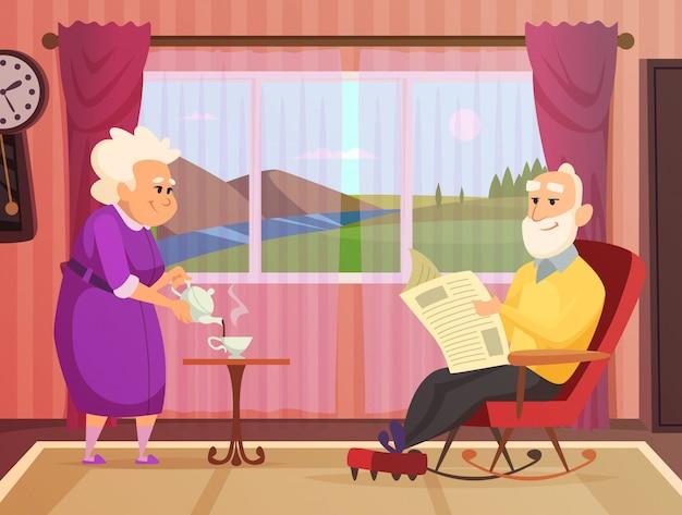 Bejaarde echtpaar in het huis