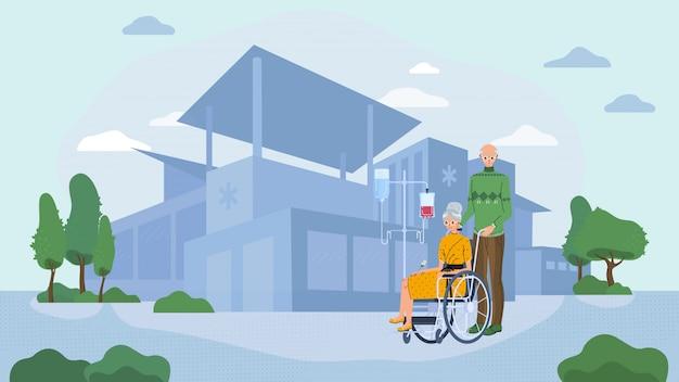 Bejaarde echtpaar in het ziekenhuis, senior vrouw in rolstoel, vectorillustratie