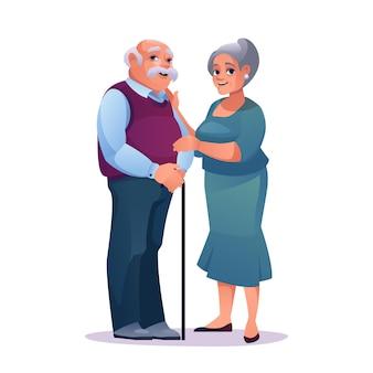 Bejaarde echtpaar man met stok en mooie volwassen vrouw in jurk geïsoleerde vector volwassen blanke man
