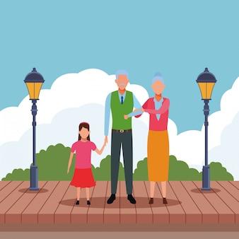 Bejaarde echtpaar met kind