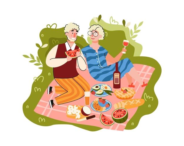 Bejaarde echtpaar met picknick buitenshuis cartoon