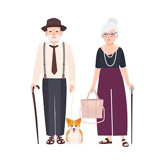 Bejaarde echtpaar met wandelstokken en hond aangelijnd. paar oude man en vrouw gekleed in elegante kleren die samen lopen. grootvader en grootmoeder. platte stripfiguren