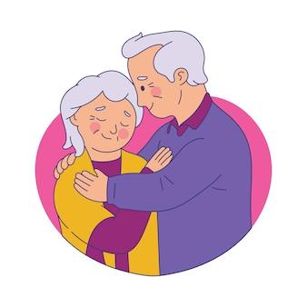 Bejaarde echtpaar omhelzen elkaar en glimlachen