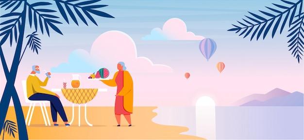 Bejaarde echtpaar op zee kust illustratie