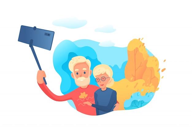 Bejaarde echtpaar selfie illustratie maken