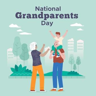 Bejaarde echtpaar spelen met kleinzoon nationale grootouders dag