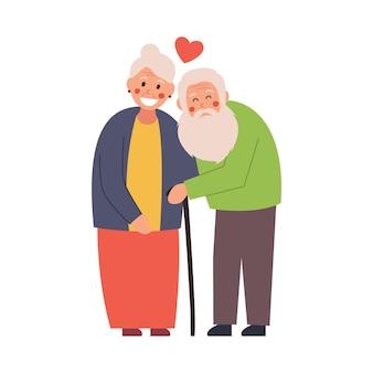 Bejaarde echtpaar teder knuffelen, illustratie op witte geïsoleerde achtergrond.