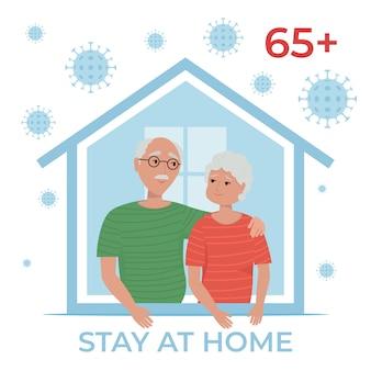 Bejaarde echtpaar thuis blijven in quarantaine, bescherming tegen virussen. blijf thuis tijdens de coronavirus-epidemie. illustratie in vlakke stijl.