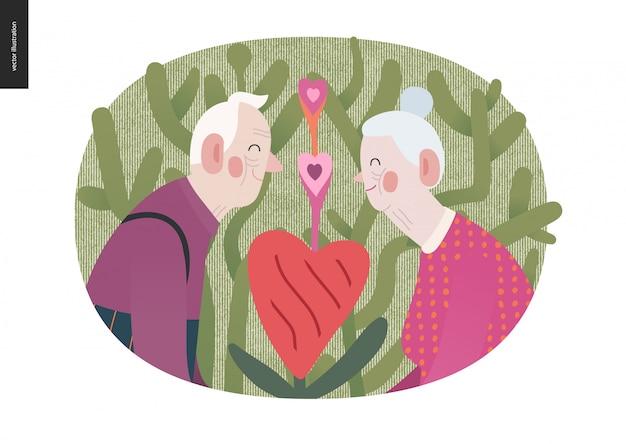 Bejaarde echtpaar verliefd valentine
