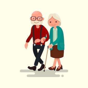 Bejaarde echtpaar wandelen illustratie