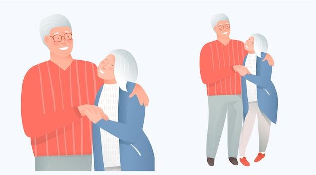 Bejaarde gepensioneerde paar verliefd knuffelen omhelzen