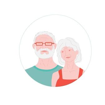 Bejaarde man en vrouw familie van pernsioners bejaarde getrouwde minnaars grootmoeder en grootvader