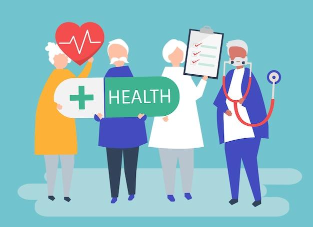 Bejaarde mensen die gezondheidspictogrammen houden