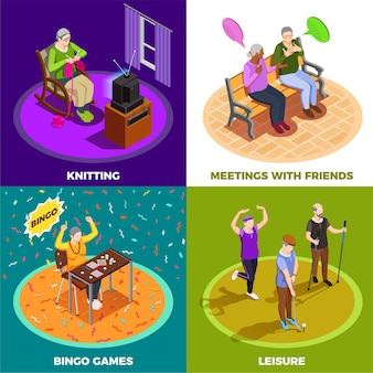 Bejaarde mensen tijdens vrije tijdsvergadering met de spelen van vriendenbingo en het breien isometrisch geïsoleerd concept
